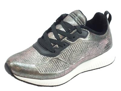 Skechers Bobs 33155 PEW Sparkle Life Peweter Scarpe sportive Donna in ecopelle peltro