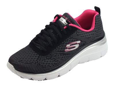 Articolo Skechers Fashion Fit Bold Boundaries Scarpe Sportive per donna nere e rosa acceso