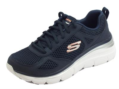 Articolo Skechers Fashion-fit Perfect Mate scarpe sportive per donna blu con memory foam