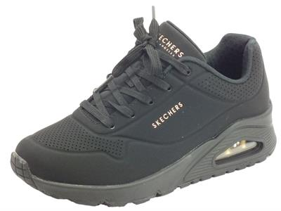 Skechers Los Angeles 73690/BBK Uno Stand on Air Black Scarpe sportive Donna in ecopelle nera