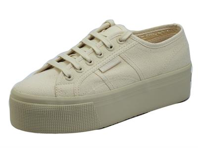 Superga 2079 Cotw Linea Up and Down Totale Beige Raw scarpe sportive per Donna in tela