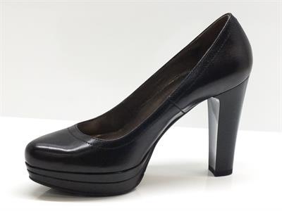 Decollet nero giardini per donna in pelle nera con tacco altissimo e plateau vitiello - Decollete nere nero giardini ...