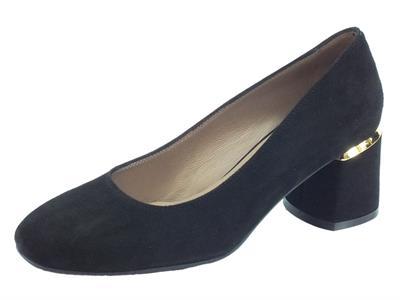 Articolo Melluso D5161 Nero Ilaria 06 Decoltè con tacco alto per Donna in camoscio nero dettagli oro