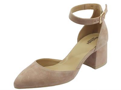 Articolo NeroGiardini decoltè con tacco e allaccio alla caviglia in  scamosciato rosa 0135919a90a