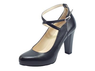 Articolo NeroGiardini I013451DE Nappa Pandora Nero Decolté per Donna allaccio caviglia in pelle tacco alto