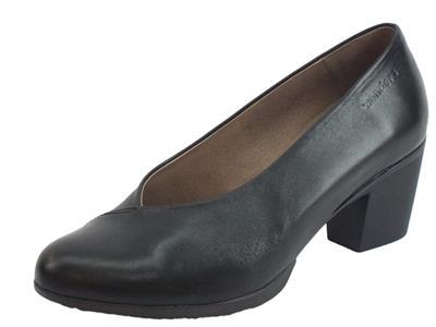 Wonders G-4741 Velvet Negro Decoltè con tacco medio per Donna in pelle nera