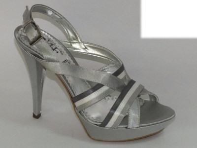 Articolo Sandalo da donna Mercante di Fiori in raso argento tacco 10cm