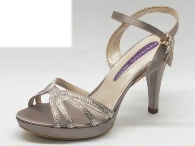 Altramarea sandalo per donna in raso colore fango con tacco 10cm