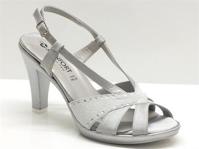 Confort sandali per donna in tessuto e camoscio colore grigio tacco 7cm e plateau 1.5cm