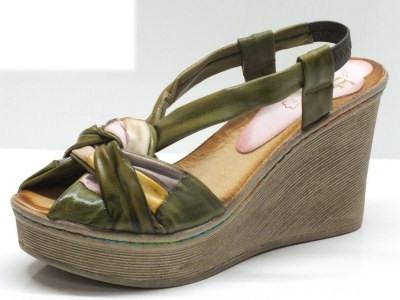 Mercante di Fiori sandali in pelle verde con zeppa 9cm