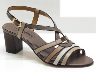 Sandali Cinzia Soft in pelle multicolore marrone e beige con tacco