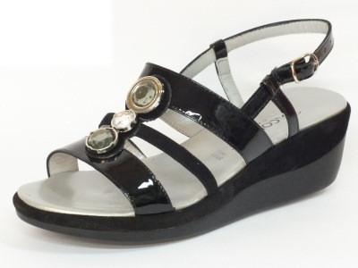 Articolo Sandali Confort in camoscio e verniciato colore nero zeppa 5cm
