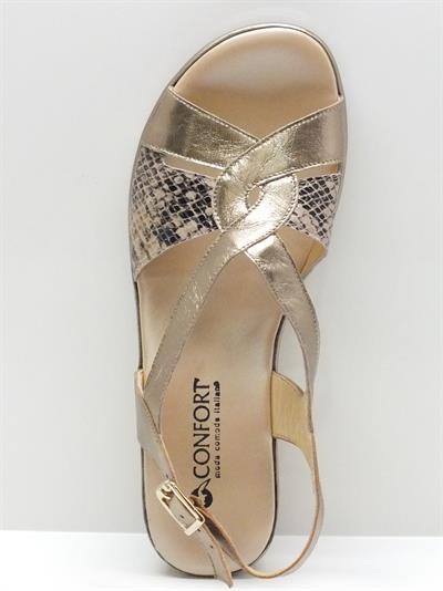 sandali confort in pelle colore laminato platino effetto pitonato con zeppa 5cm - Sandale Colore