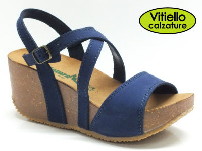 Sandali per donna BioNatura in nabuk blu con sottopiede in pelle marrone