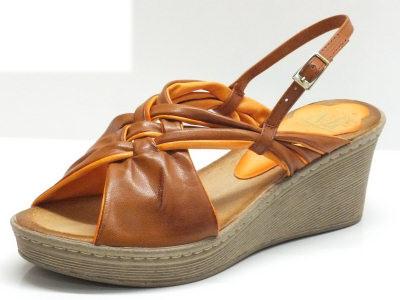 Sandali per donna Mercante di Fiori in pelle marrone arancio zeppa