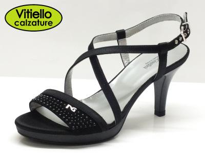 Sandali eleganti nero giardini donna raso nero tacco alto vitiello calzature vendita online - Scarpe eleganti da cerimonia nero giardini ...
