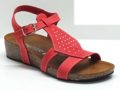 Sandali made in Italy per donna in nabuk rosso con sottopiede ergonomico