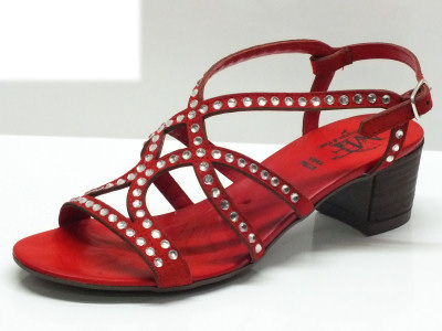 Sandali Mercante di Fiori in camoscio rosso con brillantini
