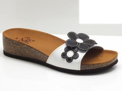 Sandali Mercante di Fiori in pelle bianca con zeppa bassa