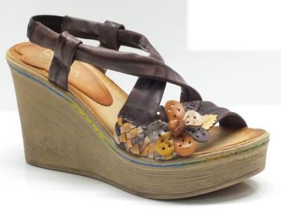 Sandali Mercante di Fiori in pelle marrone con zeppa alta