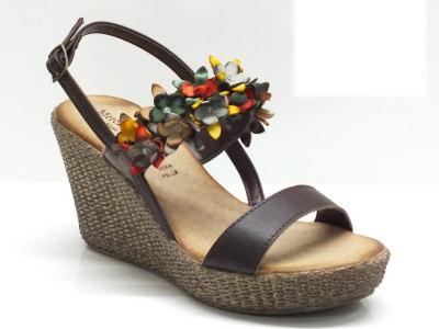 Sandali in pelle testa di moro con zeppa alta effetto vimini