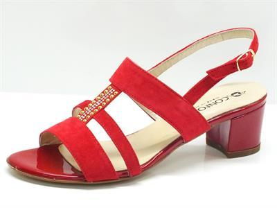 Sandali per donna Confort in camoscio colore rosso con tacco 5cm foderato
