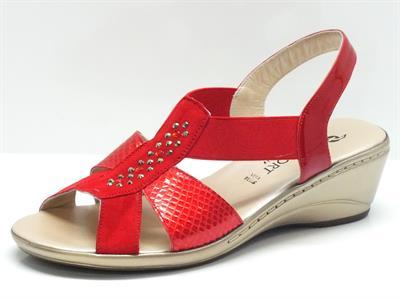 Articolo Sandali per donna Confort in camoscio rosso con dettagli in vernice pitonata rossa e brillantini