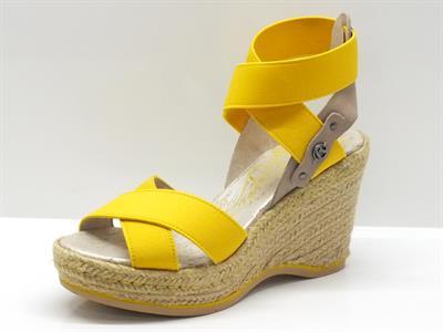 Sandali Replay in tessuto colore giallo con zeppa in corda alta