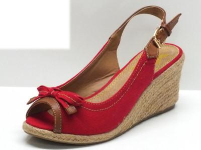 Sandali Xti in tessuto colore rosso con zeppa in corda