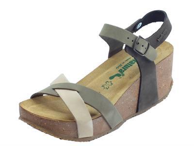 Articolo BioNatura 24 Fregene Nabuk Multi Fang sandali zeppa alta con fibbietta