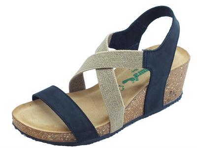 Articolo BioNatura 75 A 894 IMB Nabuk nero sandali in nabuk e tessuto zeppa alta