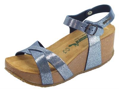 BioNatura Fregene IMB Nabuk Glitter Blu Navy sandali per donna zeppa alta
