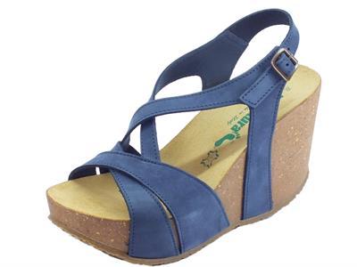 Articolo BioNatura Maratea Nabuk Blu Navy sandali per donna zeppa altissima