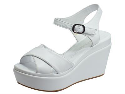 CAFèNOIR GHA133 Bianco Sandali per Donna in pelle bianca con zeppa alta