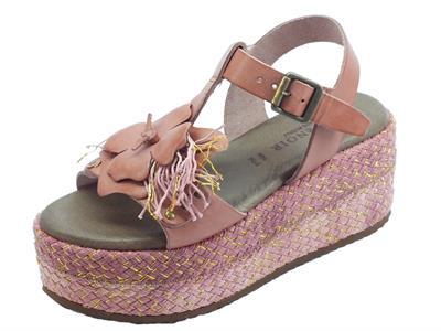 Articolo CafèNOIR sandali donna in pelle lilla con zeppa alta in corda lilla e oro