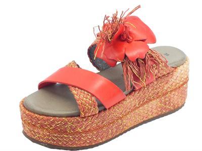 Articolo CafèNOIR sandali donna in pelle rossa con zeppa alta in corda rossa e oro