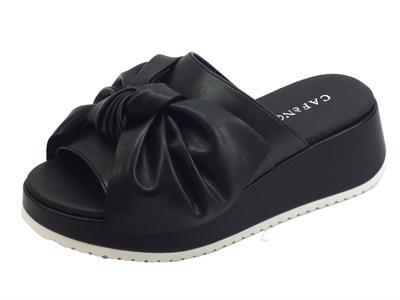 Articolo CafèNOIR sandali scalsati donna in pelle nera con fiocco in pelle zeppa alta