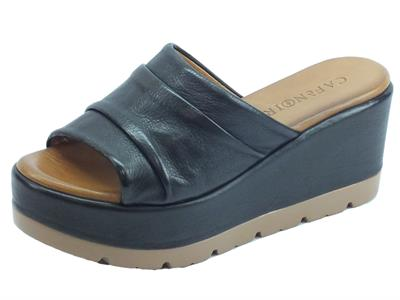 CafèNOIR sandali scalsati per dona in pelle arricciata nera zeppa alta