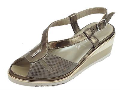 Cinzia Soft sandali Caterina per donna in pelle colore bronzo zeppa alta