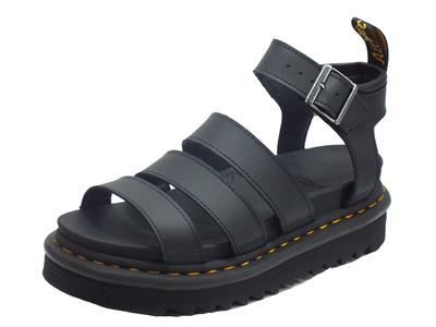 Articolo Dr. Martens Blaire 24235001 Hydro Leather Black Sandali Donna in ecopelle zeppa alta