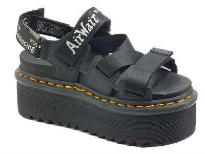 Dr. Martens Kimber Black White Light Grey Sandali per Donna in tessuto elasticizzato triplo stratch