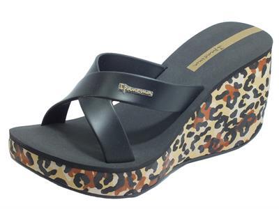 Articolo Ipanema 82856 Lipstick Straps VI Fem Beige Black Sandali Grendene Donna zeppa alta leopardaro