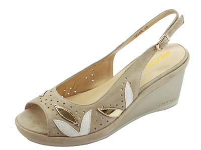 Melluso DGiglio sandali zeppa alta per donna in nabuk corda