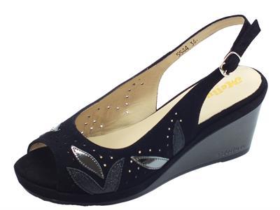 Articolo Melluso DGiglio sandali zeppa alta per donna in nabuk nero