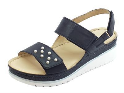 Articolo Melluso Walk sandali  per donna in pelle nera tripla chiusura a strappo