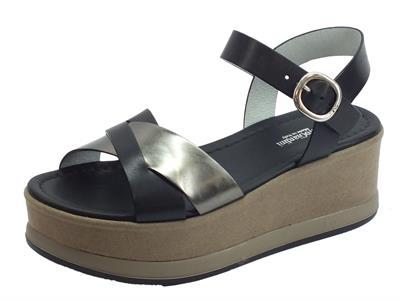Articolo Nero Giardini P908362D Leon Nero T.Brill Antracite sandali pelle nera zeppa alta