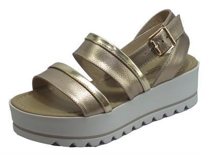 NeroGiardini E012582D Marte Nut T. Brill Platino Sandali Donna in pelle allaccio caviglia incrociato