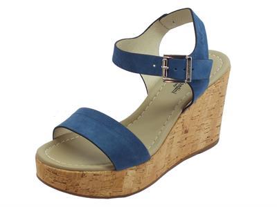 Articolo NeroGiardini P908142D Velour Acqua 361 sandali zeppa alta effetto sughero