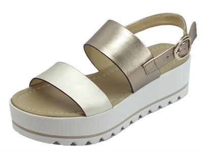 Articolo NeroGiardini P908323D Oxigen Platino Oxigen Bronzoo sandali zeppa alti in pelle bronzo e platino