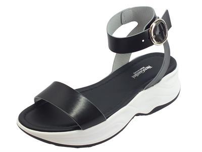 Articolo NeroGiardini P908370D Leon Nero sandali zeppa alta in pelle nera